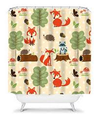 Animal Shower Curtain Woodland Shower Curtain Monogram Boy From Honeydesignstudio