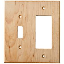 maple wood wall plates 2 gang combo light switch gfci outlet