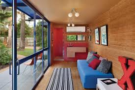 home design shipping container guest house interior with wooden