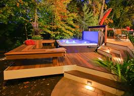 exterior design landscape design ideas with backyard jacuzzi and