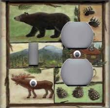 cabin bear moose home decor double combo ls light switch plate