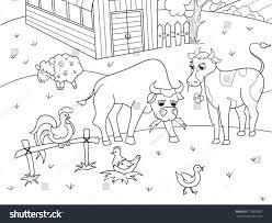 coloring book listen farm animals rural landscape coloring book stock vector 719800837