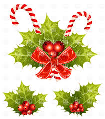 christmas holly with candy canes and red bow vector clipart image