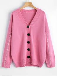 pink sweaters button up cardigans contrast v neck button up cardigan pink
