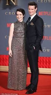 claire foy and matt smith pose at premiere of the crown daily