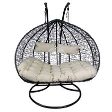 xl double and a half hanging egg chair rattan wicker outdoor furniture black cream