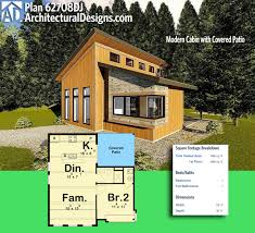 plan 62708dj modern cabin with covered patio modern tiny house