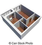 drawing of 3d apartment plan isolated render on a white