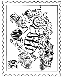 bluebonkers tropical fish stamp usps nature stamp coloring