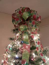 large tree topper bow 2 ribbons by creativelycarole