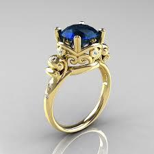 engagement rings london modern vintage 18k yellow gold 2 5 carat london blue sapphire