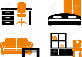 home furniture items house and office furniture icon set stock vector illustration