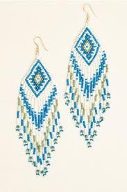 Chandelier Beaded Earrings White Bead Earrings Earthbound Trading Co