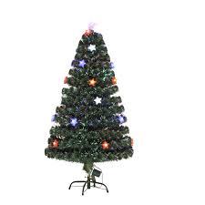homcom 3ft 4ft 5ft green fibre optic artificial christmas indoor