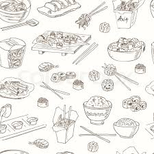seamless pattern food asian food decorative chinese food seamless pattern vector