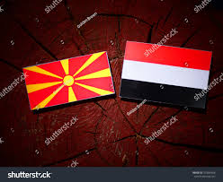 Macedonian Flag Macedonian Flag Yemeni Flag On Tree Stock Photo 707884666