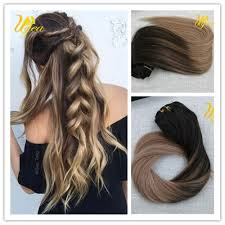 Cheap Thick Clip In Hair Extensions by Ombre Balayage Highlight Remy Real Clip In Human Hair Extensions