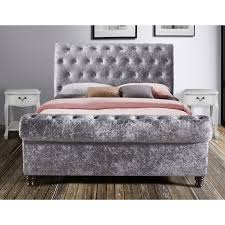 castello button sleigh fabric bed frame next day select day