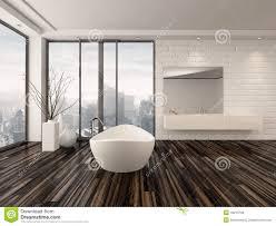 Minimalist Bathtub Modern White Minimalist Bathroom Interior Stock Illustration