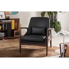 Black Leather Accent Chair Baxton Studio Mid Century Modern Retro Black Faux Leather
