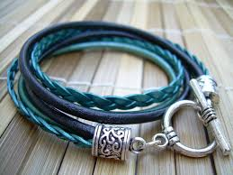 leather women bracelet images Womens leather bracelet toggle closure metallic teal and black jpg