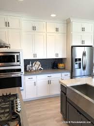 what tile goes with white cabinets remodelaholic grey and white kitchen cabinet ideas