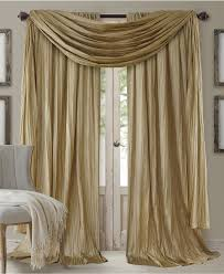 decor beige scarf valance with gray accent chair for elegant