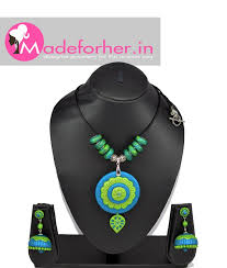 green fashion necklace images Buy blue green polymer clay necklace designer necklaces free shipping jpg