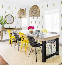 fabulous mix of unique black wicker dining room chairs and yellow