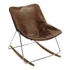 Esszimmerst Le Leder Braun Vintage Sessel Schaukelstuhl Leder Braun Guariche G1 Design