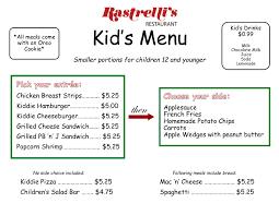 kid u0027s menu rastrelli u0027s restaurant