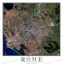 Map Rome Rome Italy Satellite Map Print Aerial Image Poster