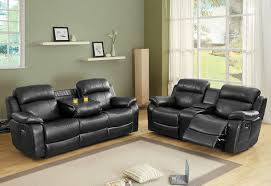 leather sofa recliner set furniture glamour reclining loveseat with center console for