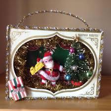 vintage christmas ornament box diorama shadow box hand made