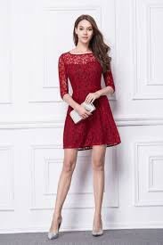 red lace short dress boat neck high waist prom dress cocktail