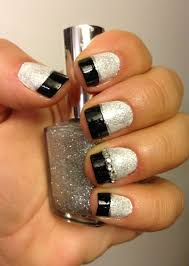white and silver glitter nails with black tips nail art ideas