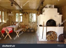 russian interior design interior russian house traditional oven stock photo 48960526