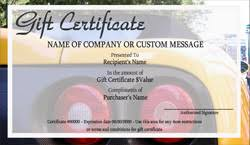 automotive gift certificate templates easy to use gift certificates