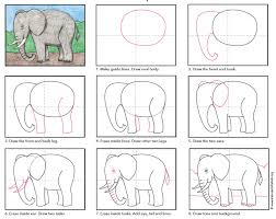 draw an elephant art projects for kids