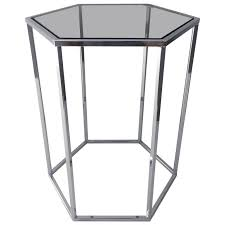 Hexagon Side Table Polished Chrome And Smoked Glass Hexagon Side Table By Milo