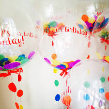 rainbow confetti balloons personalised for a 1st birthday