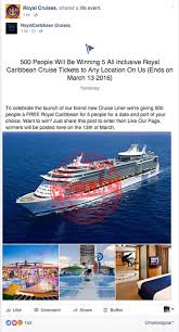 royal carribean facebook scam promises u0027royal caribbean cruise tickets to any