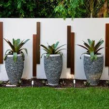 garden pots with stone materials