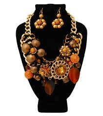 chunky pearl crystal necklace images Chunky chain topaz crystal with pearl and bead necklace set jpg