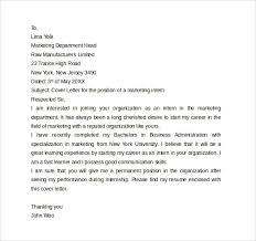 sample internship cover letter example 12 download free
