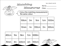 matching measures a year 4 length worksheet