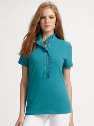 Tory Burch Plus Size Clothing Tory Burch Lidia Rufflecollar Polo Shirt In Orange Lyst