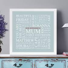personalised u0027mum u0027s favourites u0027 square print by cherry pete