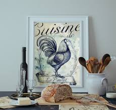 french kitchen decor rooster art rustic farmhouse giclee large