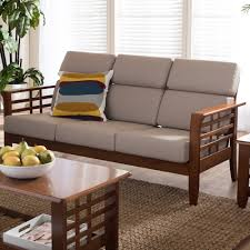 couch taupe baxton studio larissa modern classic mission style cherry finished